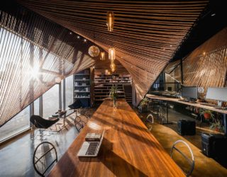 Stunning Use of Rope in Wavy Form Delineates Space Inside this Shanghai Office