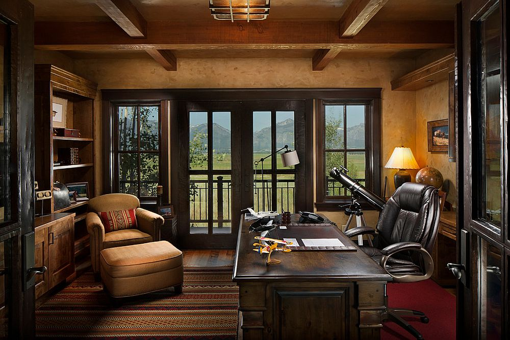 Rustic home office with gorgeous mountain views in the distance