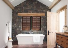 Skylights-and-contemporary-style-for-the-bathroom-with-stone-accent-wall-217x155
