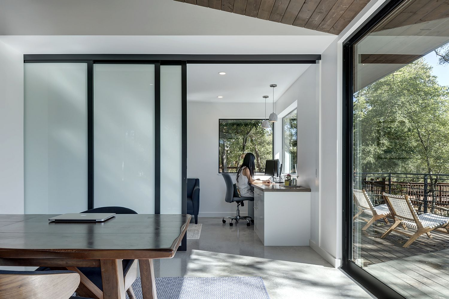 Sliding translucent doors for private work spaces