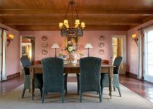 Spacious-dining-room-with-wooden-ceiling-and-plush-pink-walls-217x155