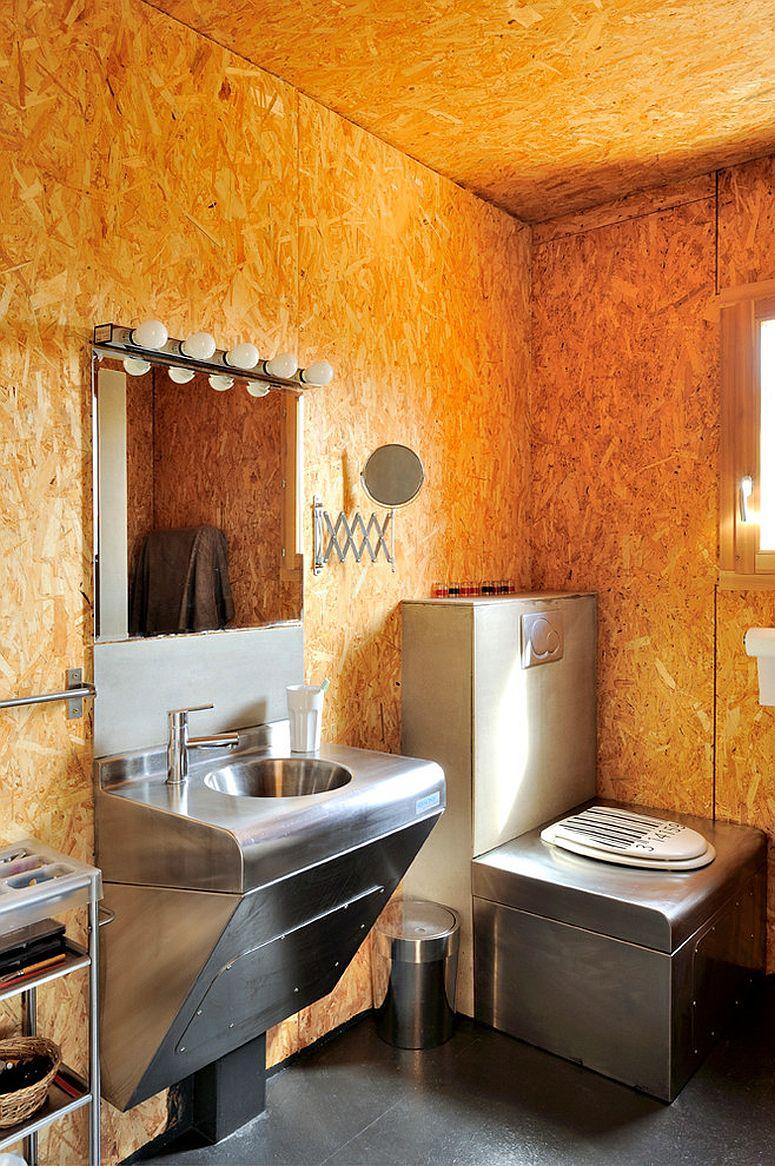Splendid industrial style bathroom in burnt orange
