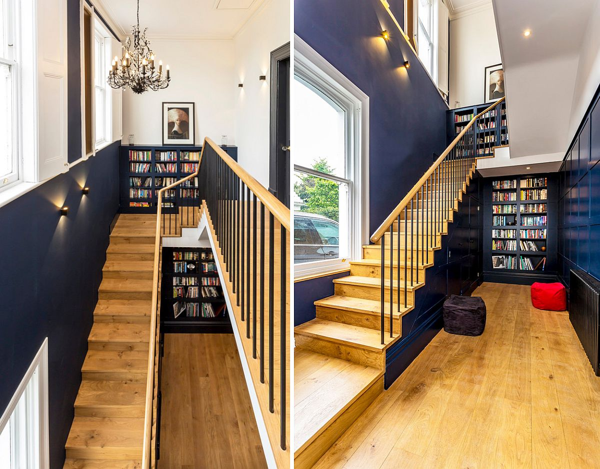 Staircase blends into style and color scheme of the home while providing additional storage space