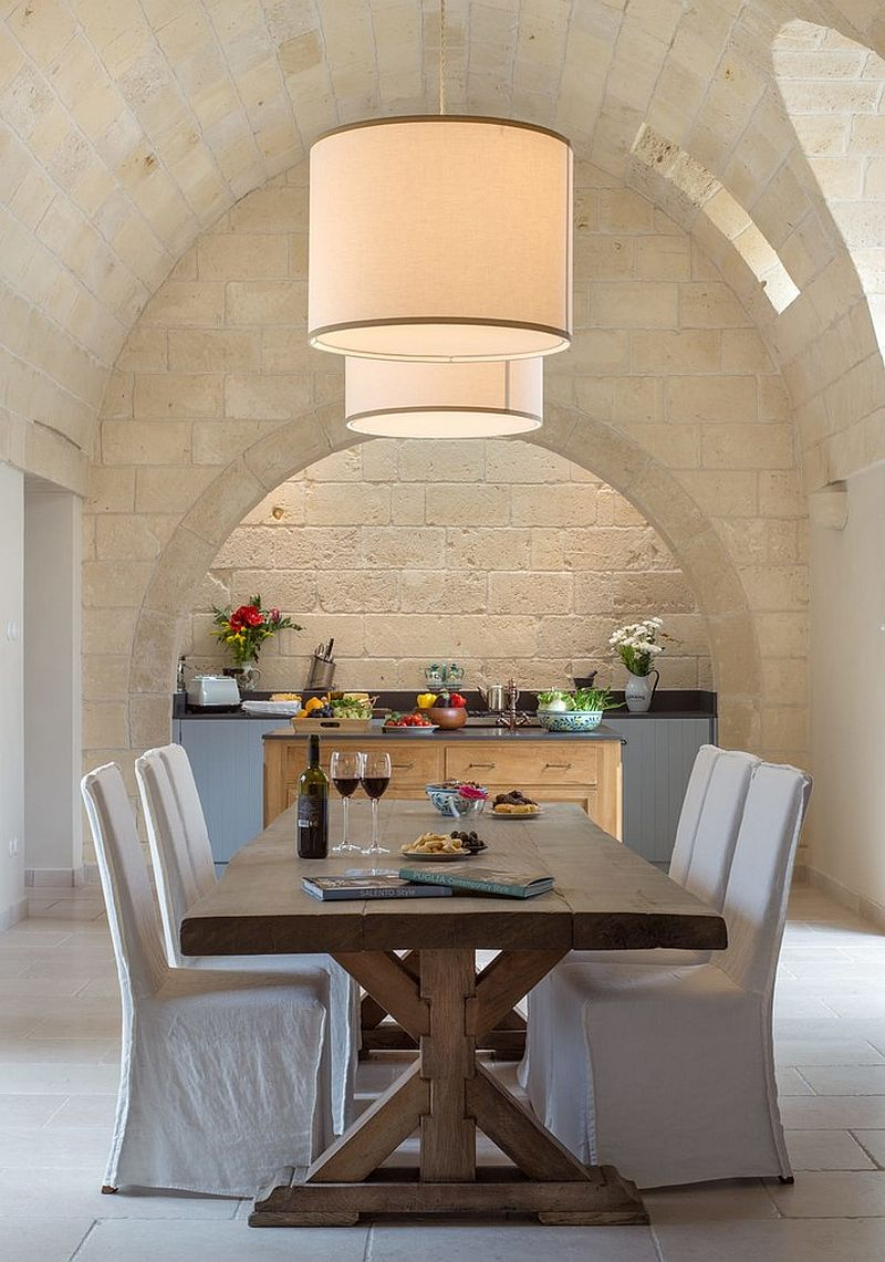 Stone walls and archways give the room an authentic Mediterranean feel