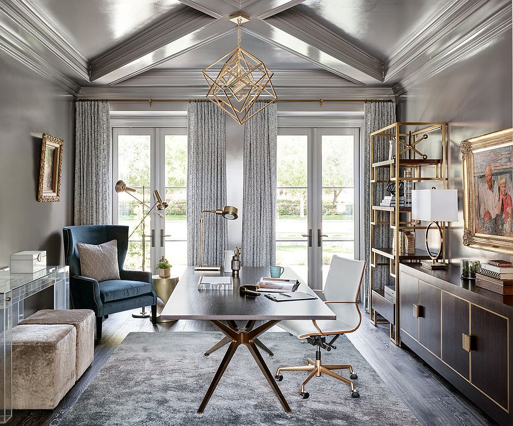 Stunning home office in gray and gold