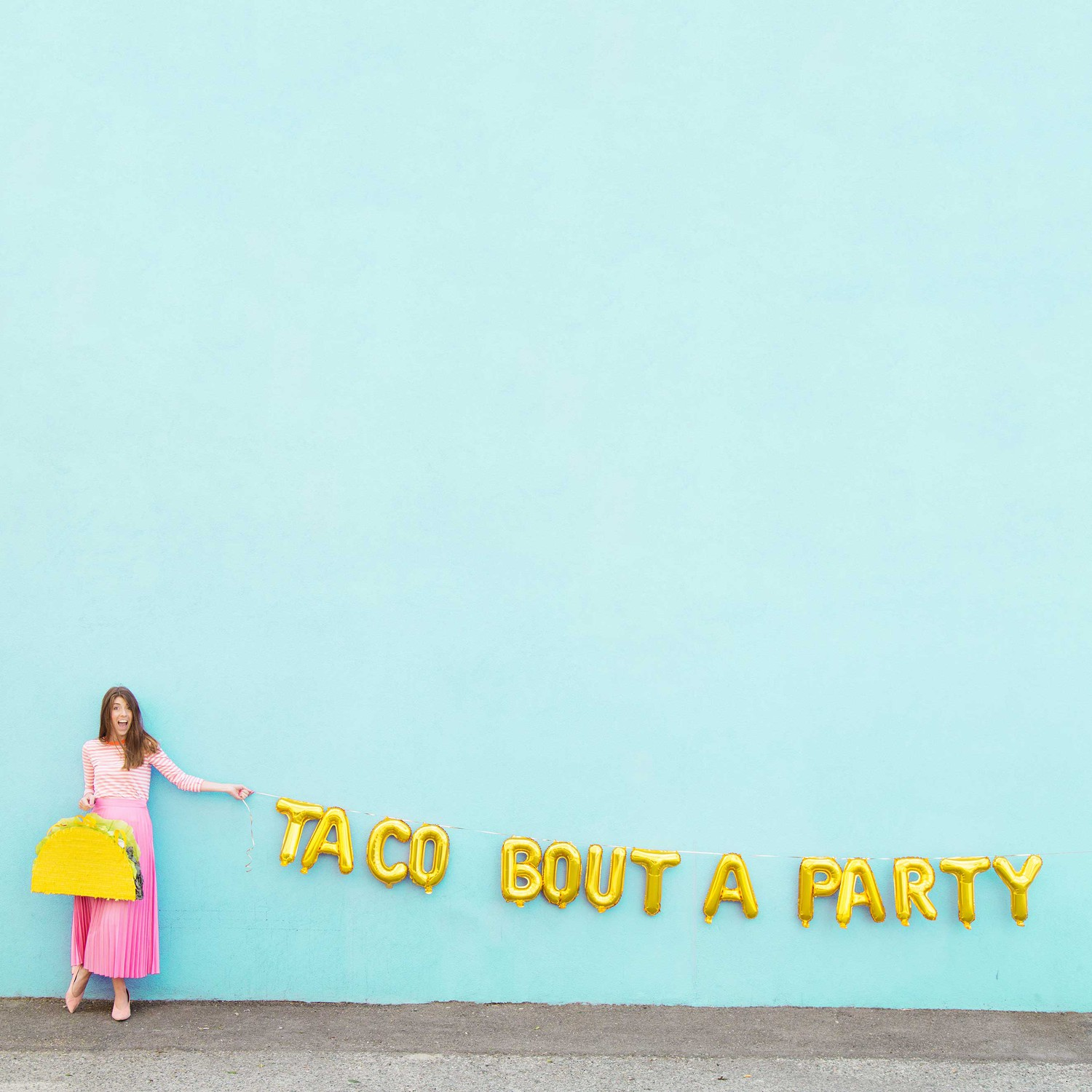 Taco party balloon letters