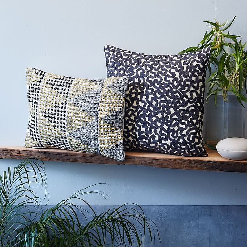 Textured throw pillows for the tropical style bedroom