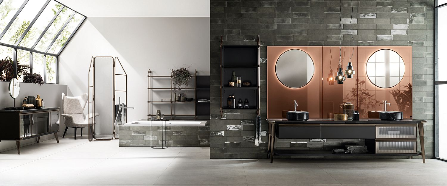 Touch of copper brilliance adds to the appeal of this bathroom