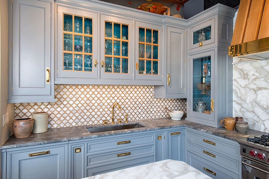 Traditional-kitchen-with-grayish-blue-cabinets-and-marble-countertops