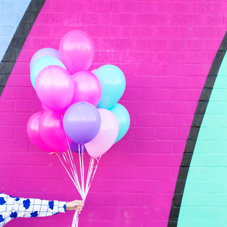 Unicorn themed balloon colors