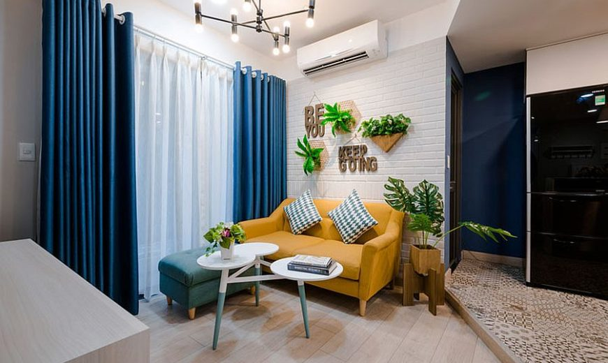 Perfect Apartment in Blue, Yellow and White: Cheerful and Space-Savvy Design!