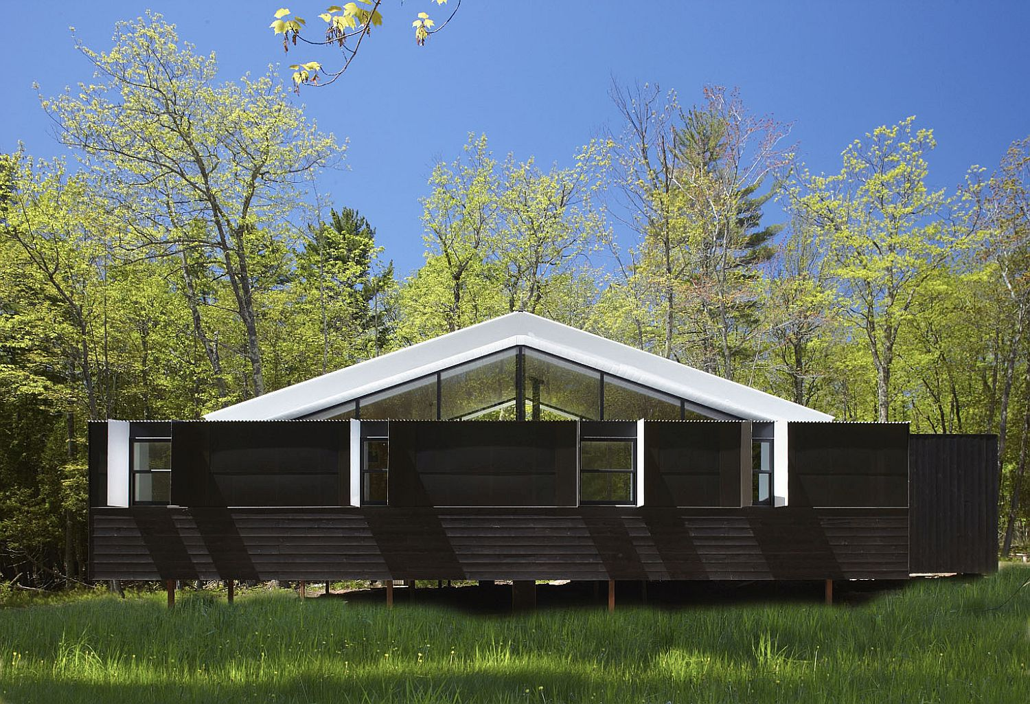 Versatile exterior of the weekend getaway opens and closes as needed