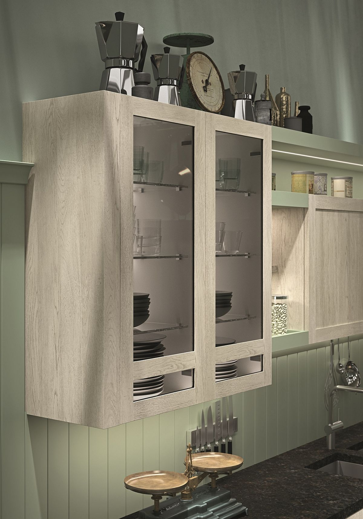 Wall-mounted kitchen cabinet with glass doors