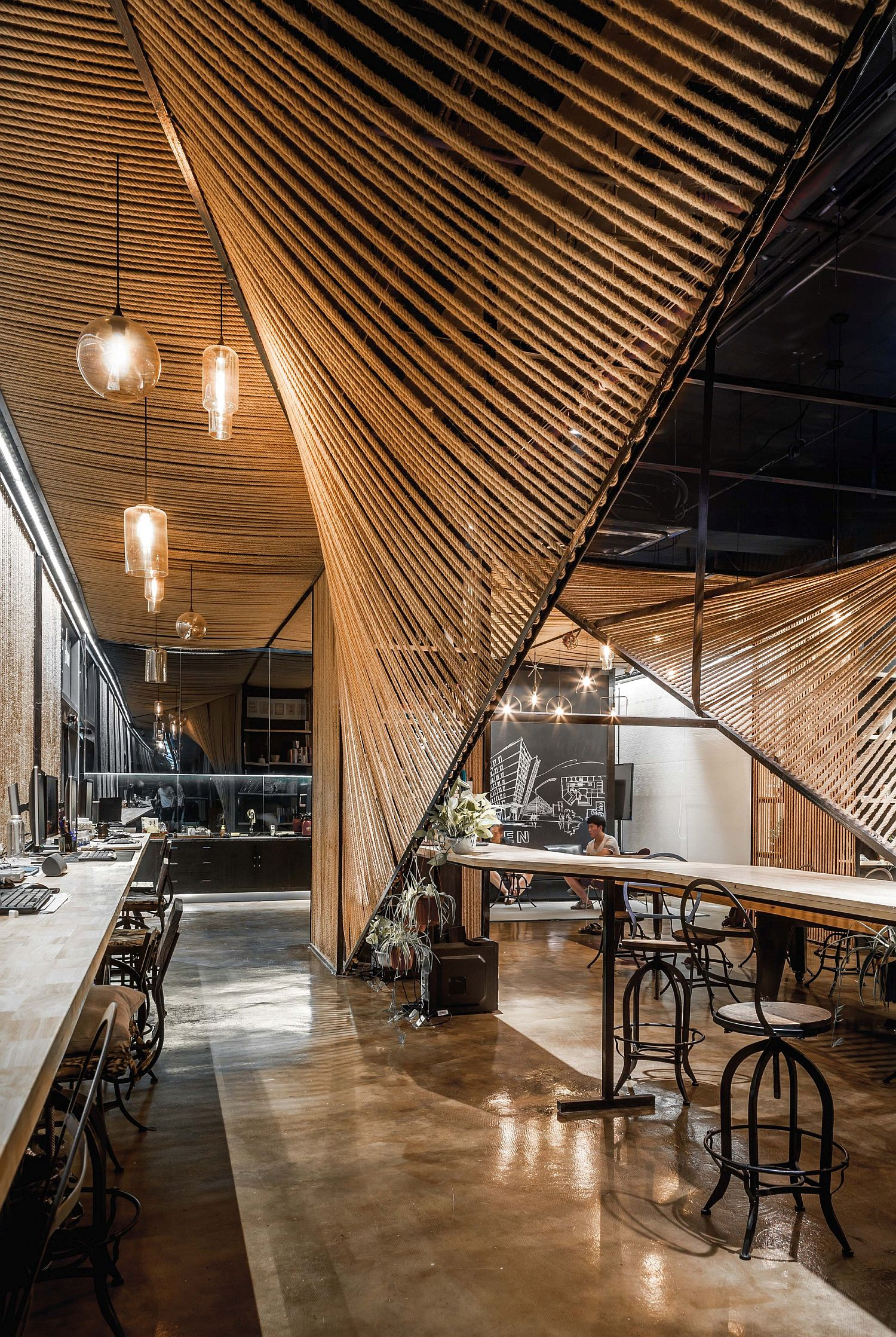 Wave-styled-rope-features-inside-the-office-delineate-space-in-style