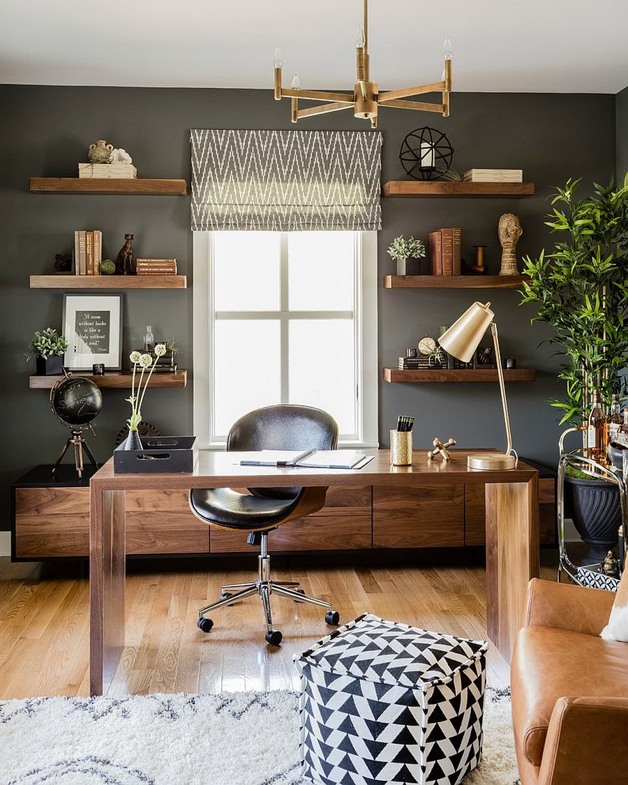Trending Accents For Your Home Office: Stunning Metallics and Touches of Nature