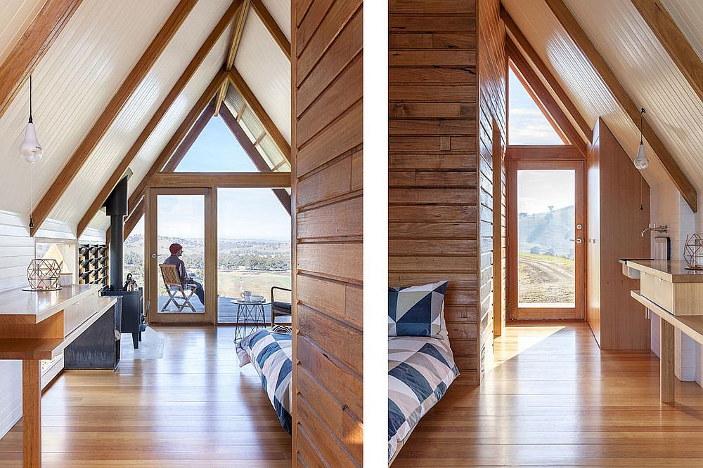 Woodsy interior of the hut crafted using wood sourced locally