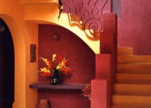 Yellow-and-red-combine-to-create-a-stunningly-dramatic-entryway-and-staircase-217x155