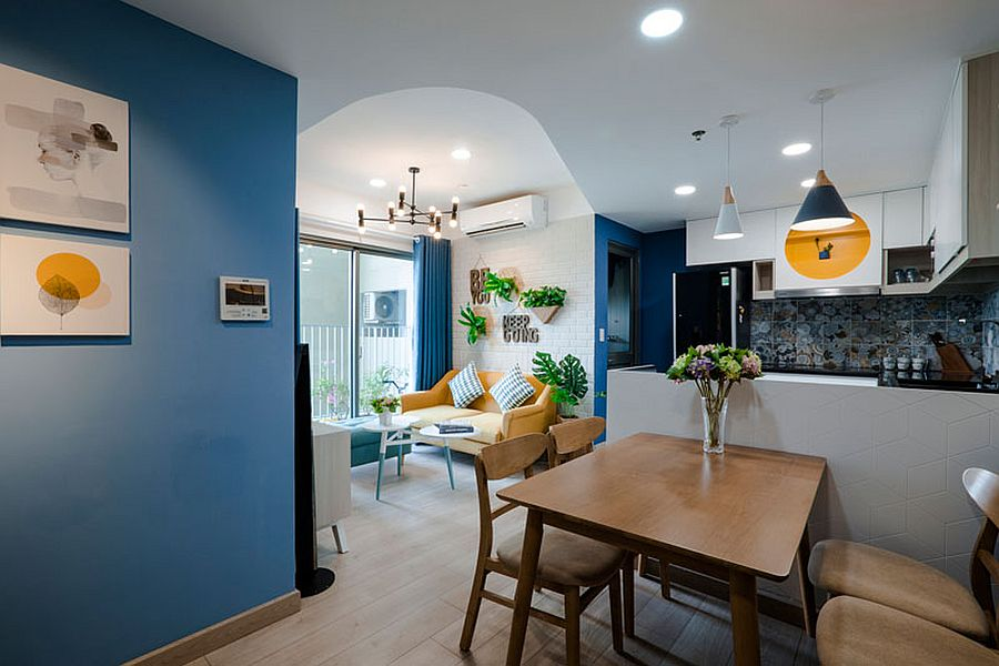 Yellow, blue and white apartment in Vietnam