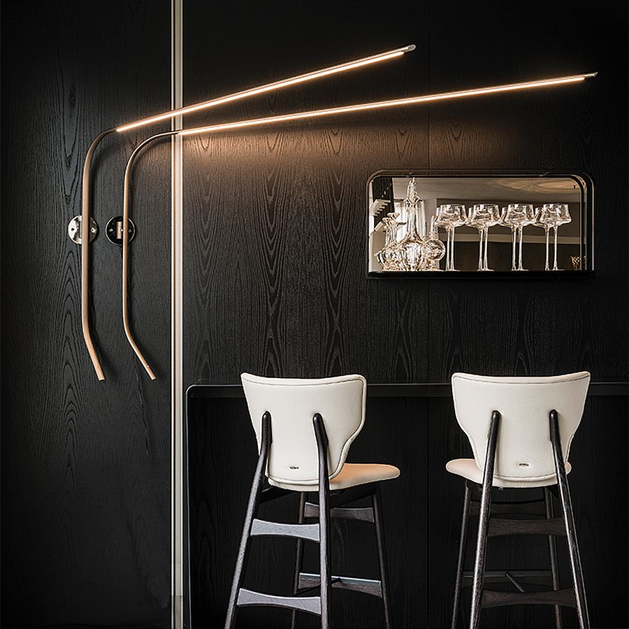 Adjustable wall lamp in titanium is a showstopper