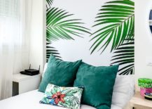 All-white-bedroom-with-a-tropical-wallpaper-headboard-217x155