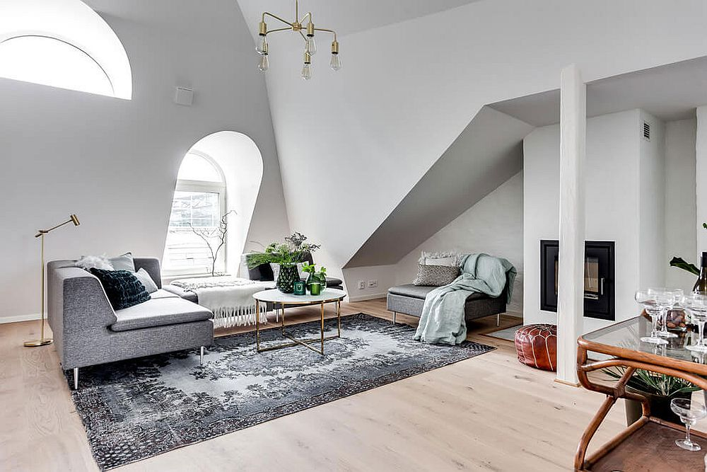 Attic apartment in Stockholm with a living space that exudes Scandinavian style