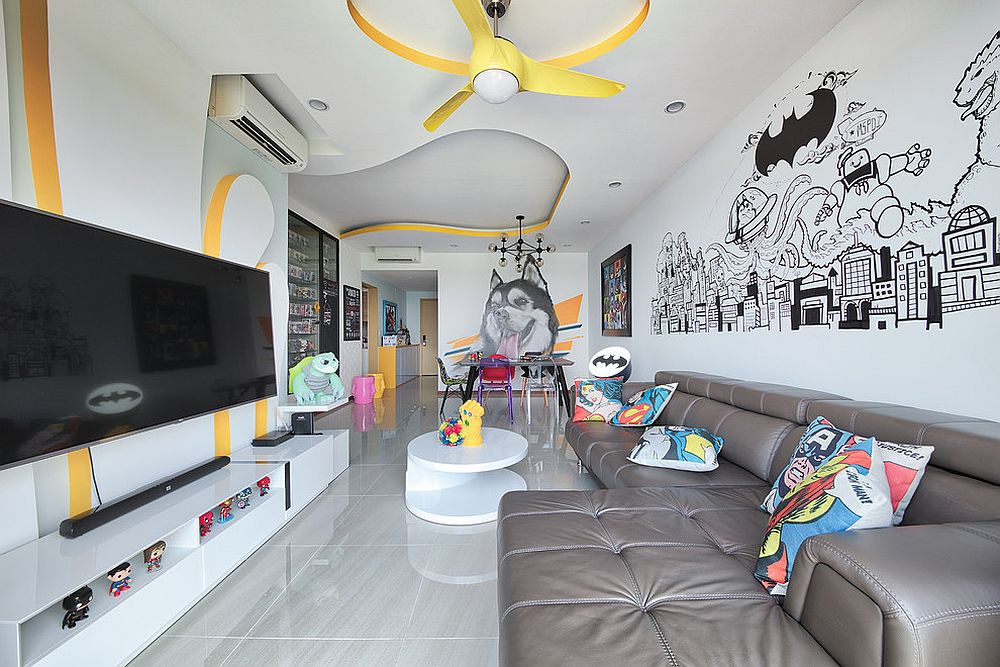 Awesome eclectic kids' space in black and white with yellow accents