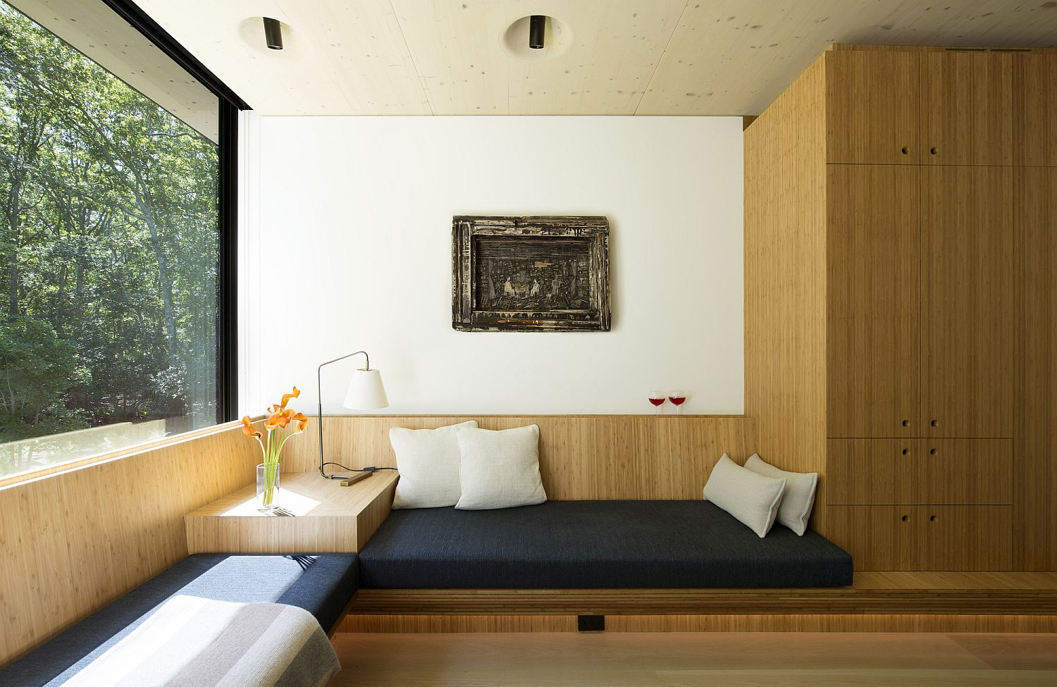 Bamboo plywood shelves and decor inside the house