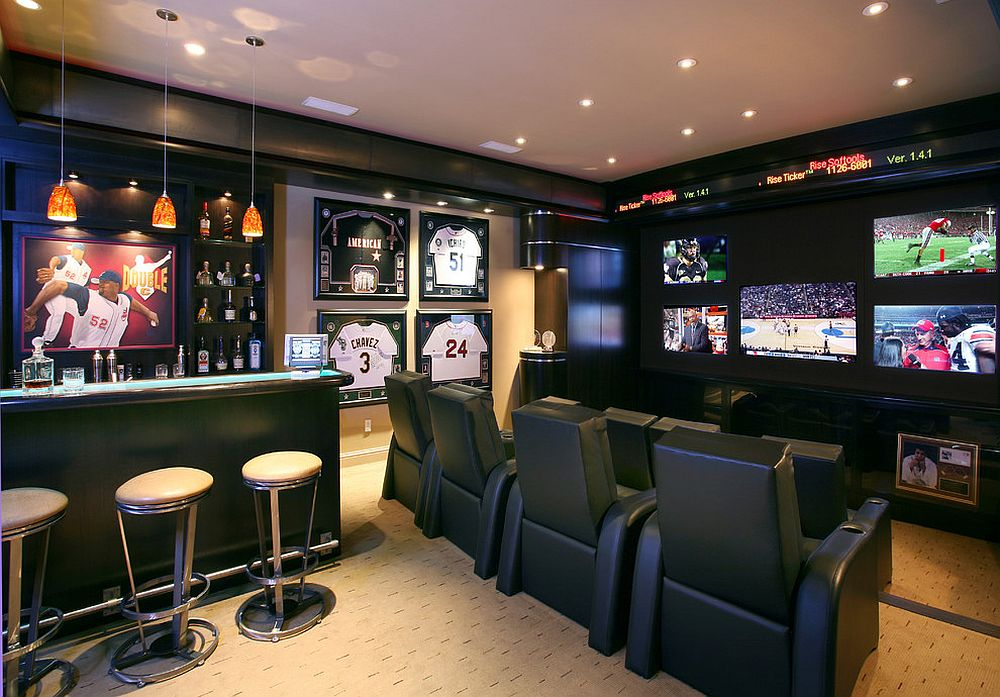 Baseball themed decor for contemporary home theater