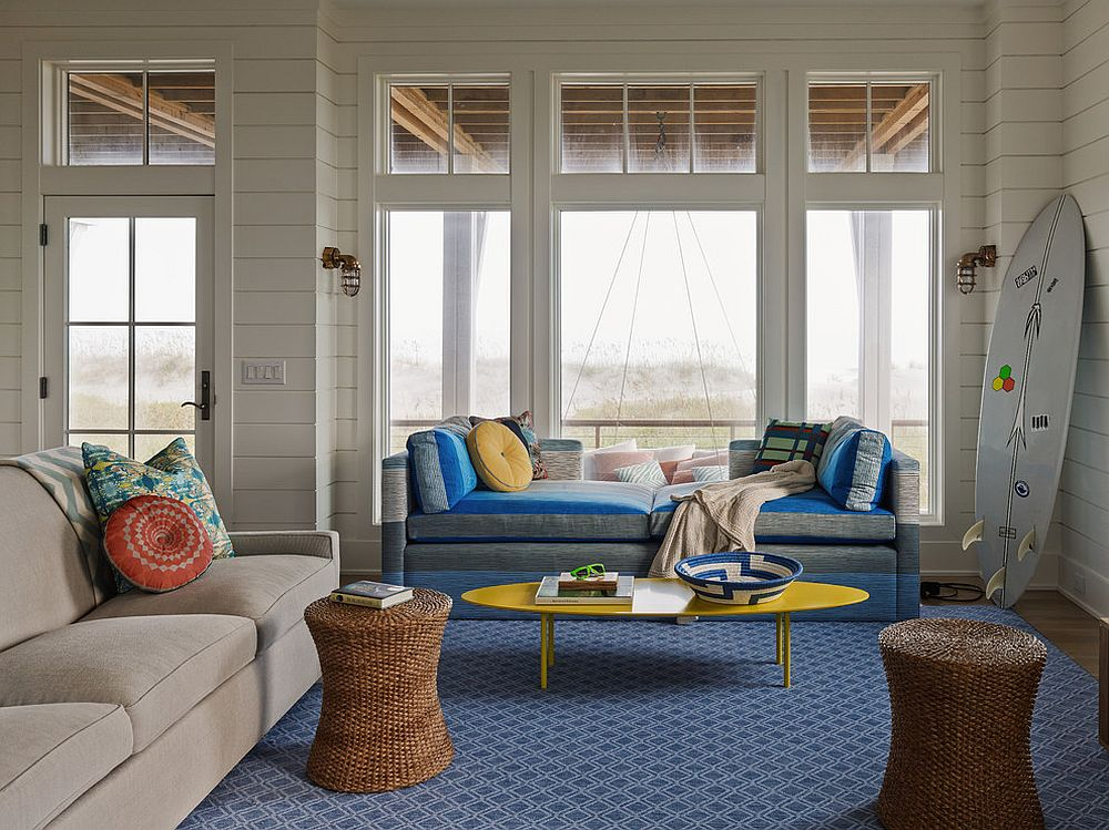 Beach style living room with decor that is filled with natural elegance