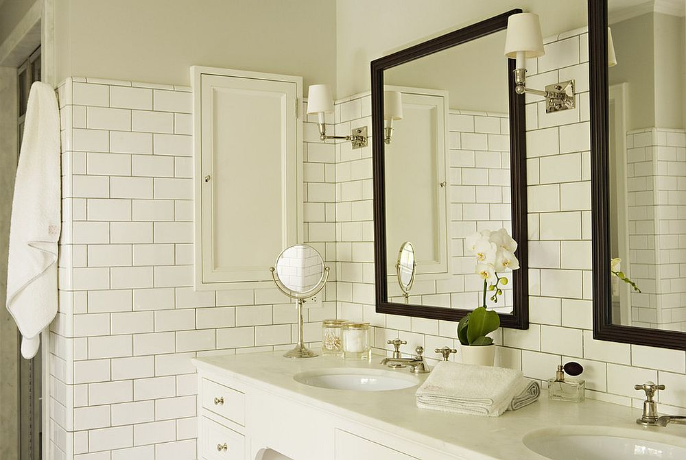 Beautiful green grout brings a refreshing appeal to the bathroom