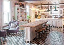 Beautiful-shabby-chic-kitchen-with-multiple-wooden-surfaces-and-a-black-and-white-floor-217x155