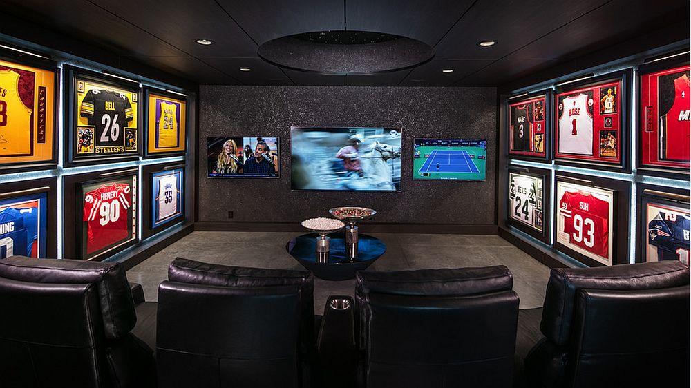 glorious game nights best sports themed media rooms and home theaters. Black Bedroom Furniture Sets. Home Design Ideas