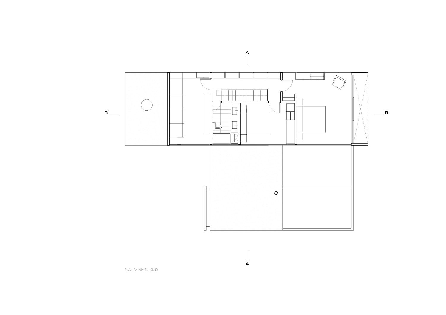 Bedroom level floor plan of cantilevered home in Chile