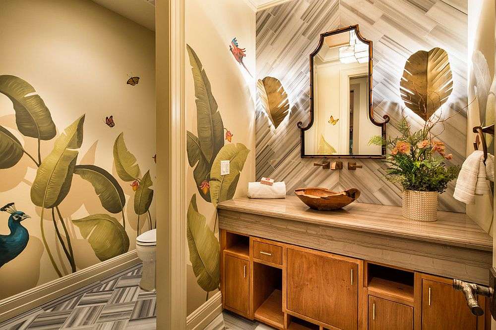 Bold-tropical-leaf-motifs-for-the-polished-powder-room