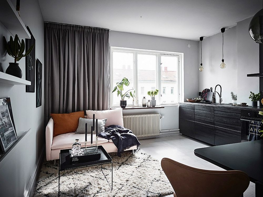 Bright living room of 26-square meter tiny Scandinavian style apartment