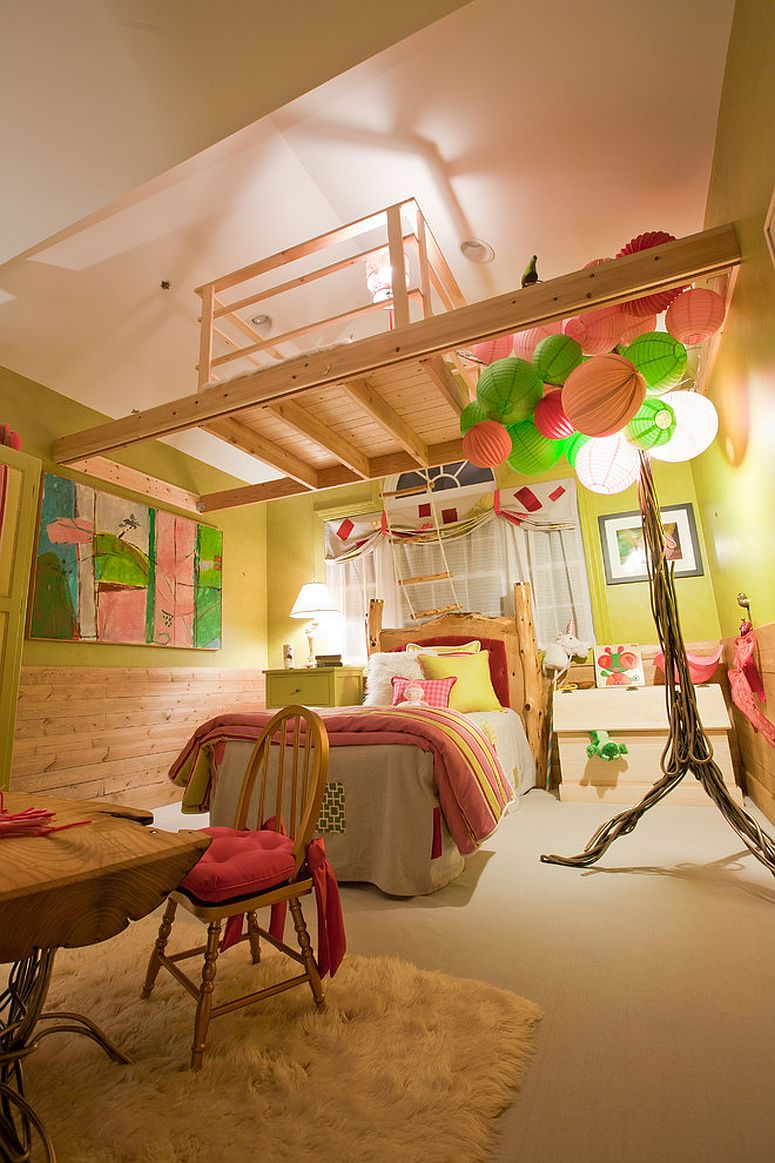 Colorful lighting for the cheerful yellow bedroom
