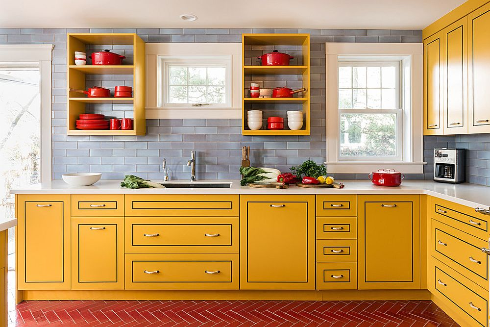 Contemporary-kitchen-with-yellow-cabinets-and-a-gray-backdrop