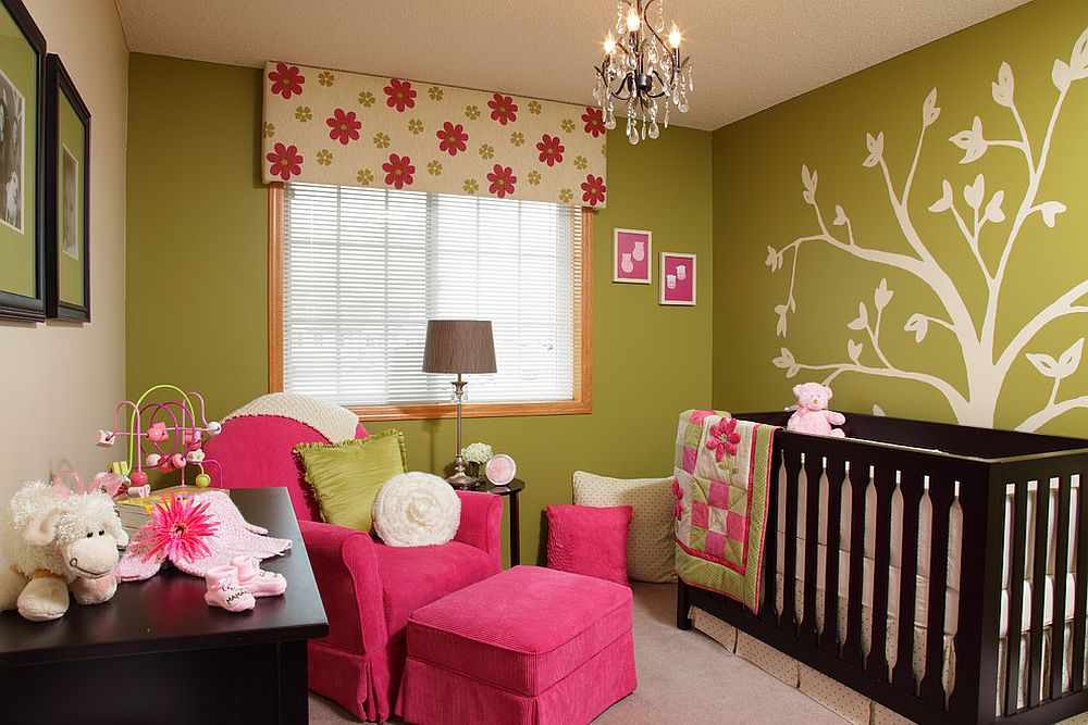 Contemporary nursery in green and pink