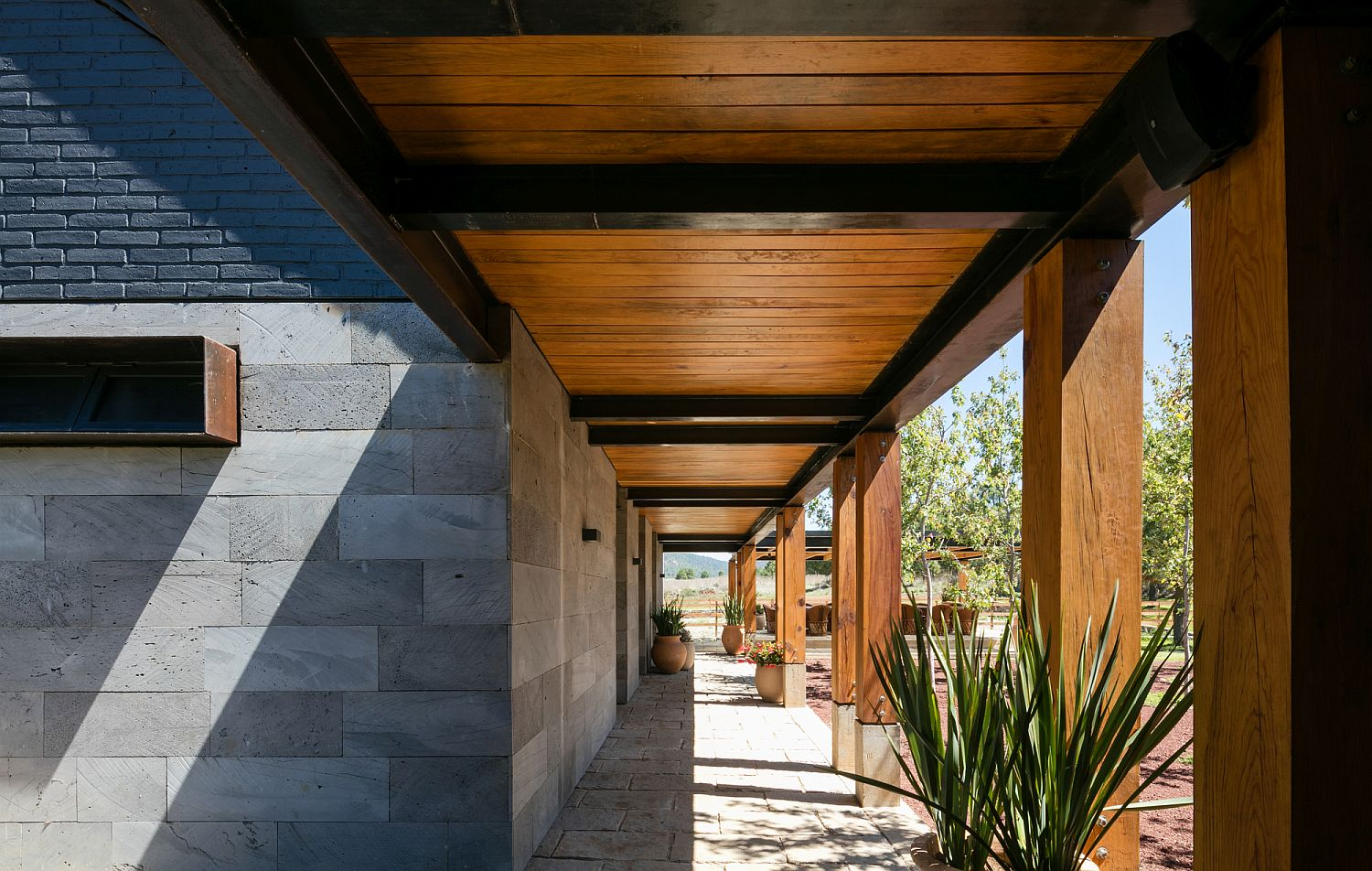 Cut volcanic rock and wood combined at the lovely ranch house