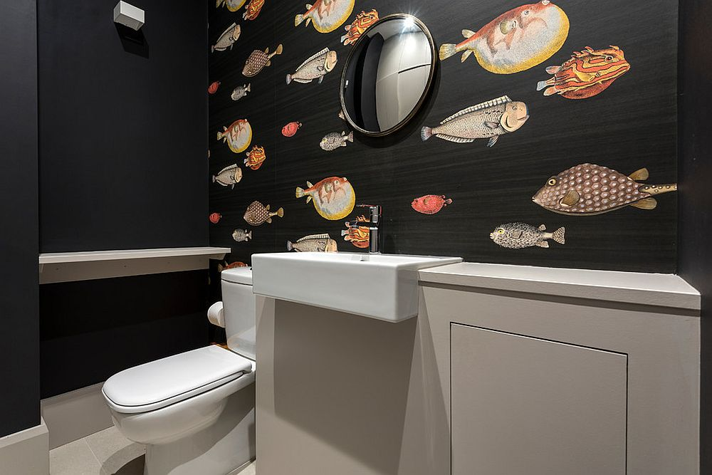 Dark-and-tropical-wallpaper-for-the-small-powder-room
