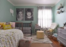 Dashing-eclectic-nursery-in-green-and-white-with-black-and-white-photographs-217x155