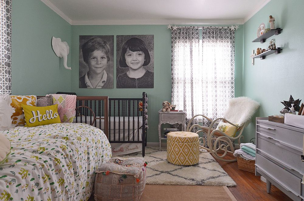 Dashing eclectic nursery in green and white with black and white photographs