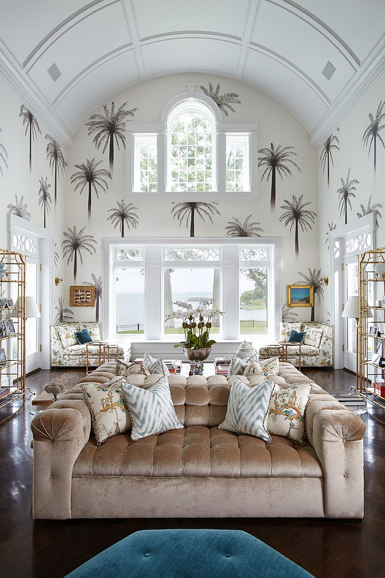 Double-height-living-room-with-smart-tropical-tree-motifs