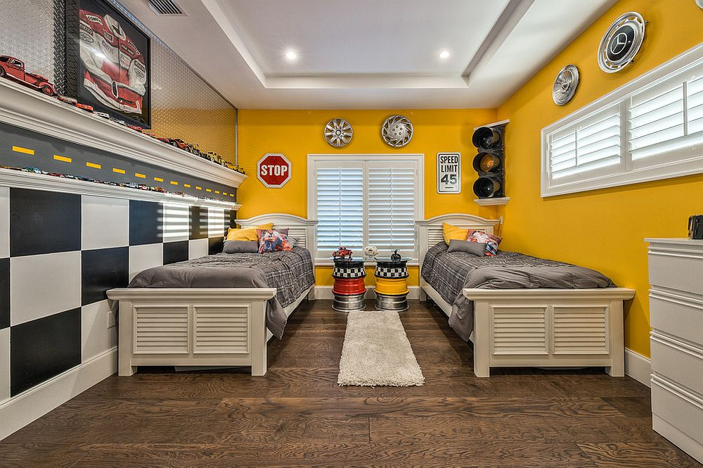 Eclectic bedroom in yellow, black and white still feels polished and refreshing