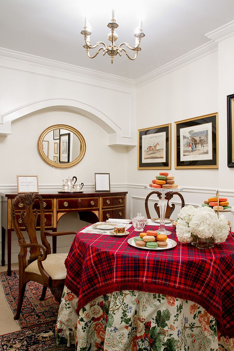 Eclectic dining room with plaid tablecloth