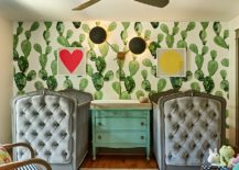 Eclectic-nursery-with-wallpaper-that-carries-cactus-motif-217x155
