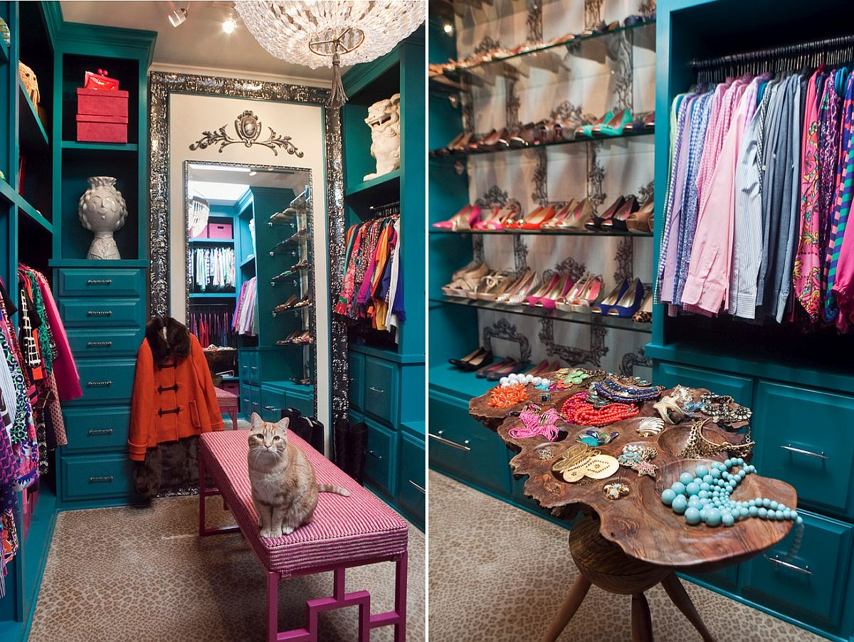 Fabulous-eclectic-walk-in-closet-in-teal-with-space-savvy-design
