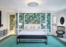 Fabulous-modern-bedroom-with-tropical-wallpaper-accent-wall-217x155
