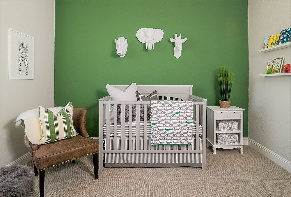 Farmhouse-style-nursery-with-green-accent-wall