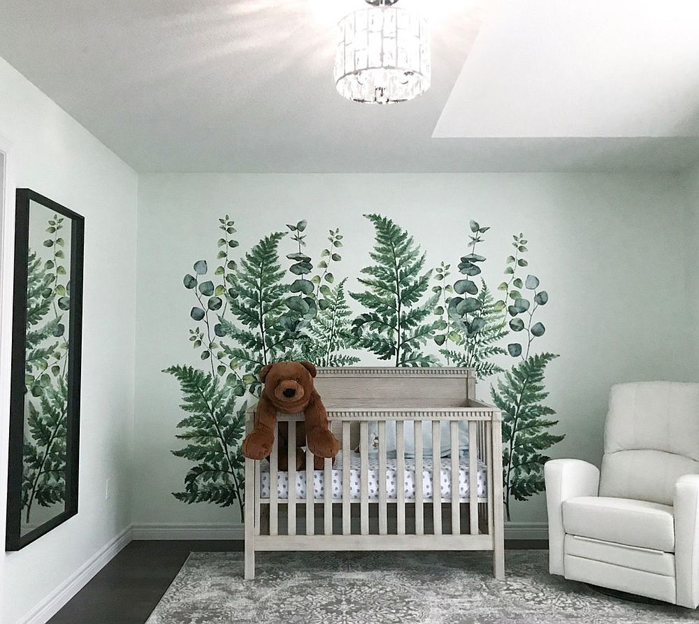Ferns & Eucalyptus vinyl wall decal for the white nursery